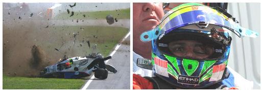 Robert Kubica capota no GP do Canadá em 2007; Felipe Massa após ser atingido por uma mola durante a classificação pro GP da Hungria de 2009